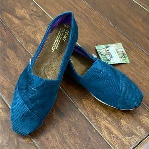 TOMS Corduroy Shoes- Ocean Blue-NWT